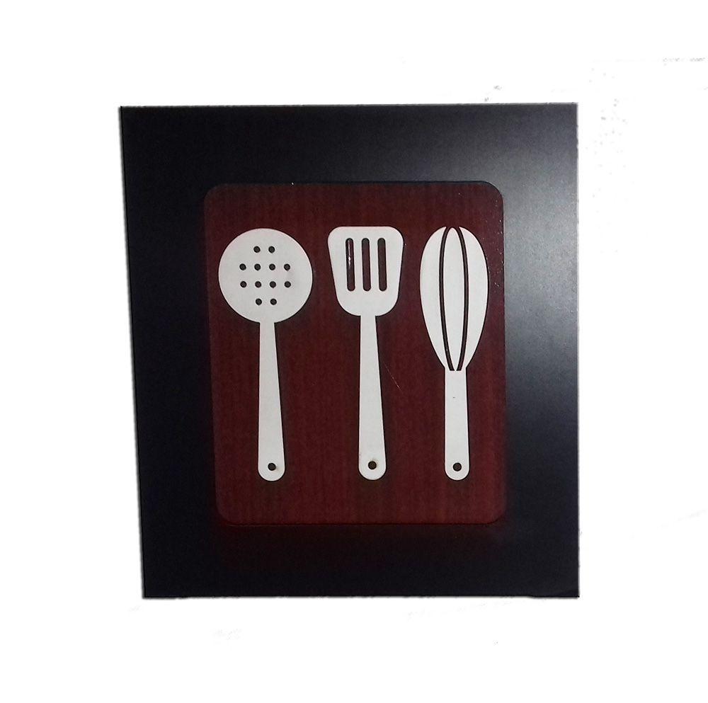 Kit 3 Quadros Decorativos para cozinha e restaurante fabricado em MDF com relevo 33 x 30 cm