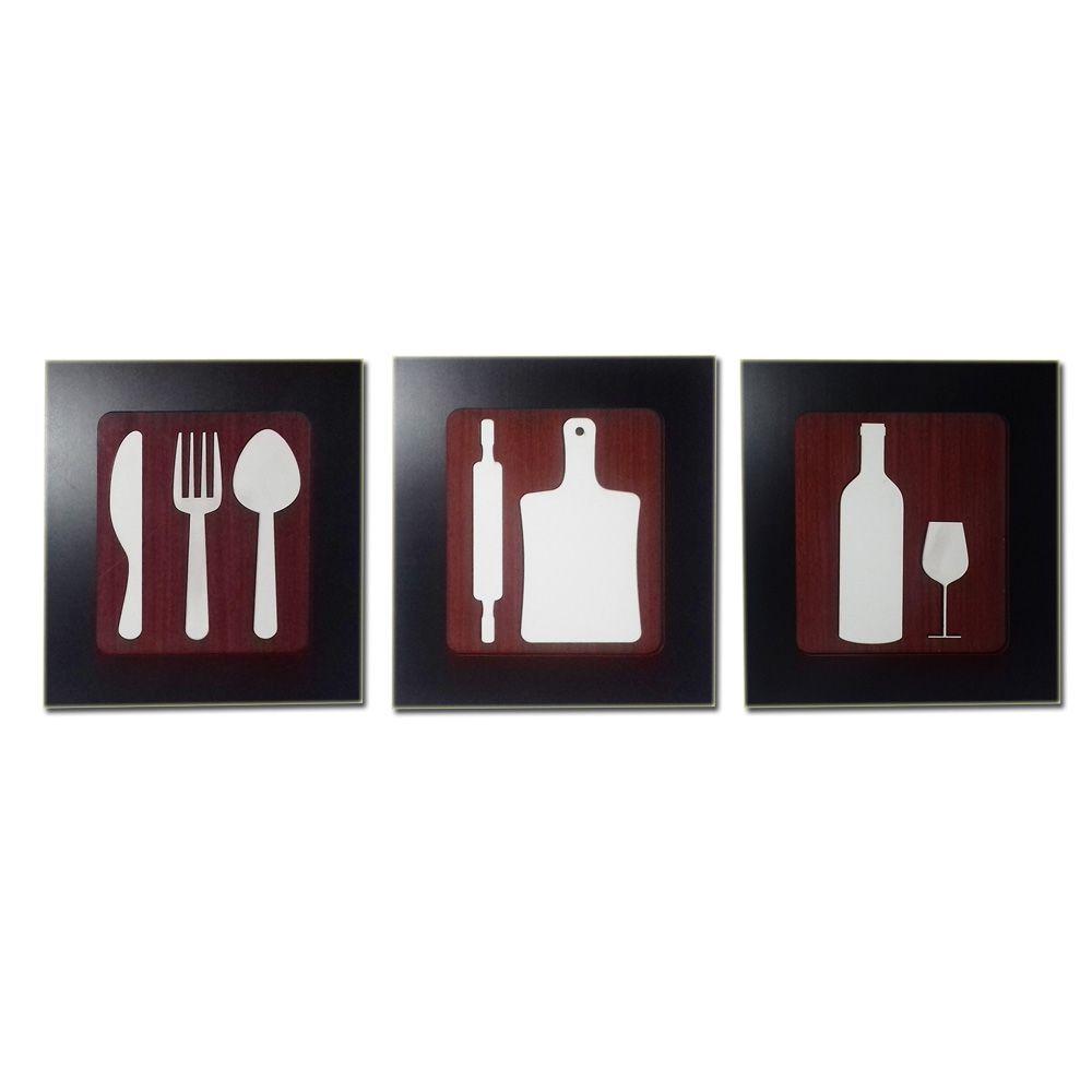 Kit 3 Quadros Decorativos para restaurante e cozinha fabricado em MDF com relevo 33 x 30 cm