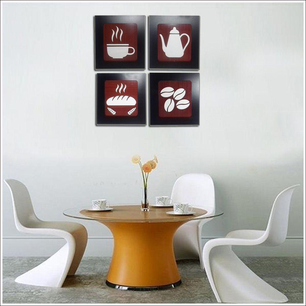 Kit 4 Quadros Decorativos para cozinha e restaurante fabricado em MDF com relevo 33 x 30 cm