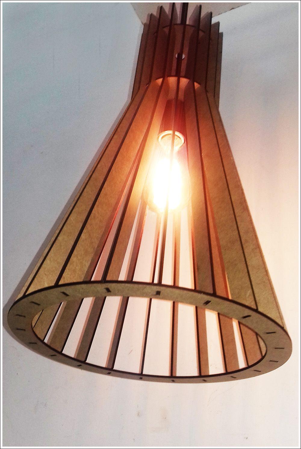 Luminária De Madeira Em Mdf Crú Design Secto Retro Vintage