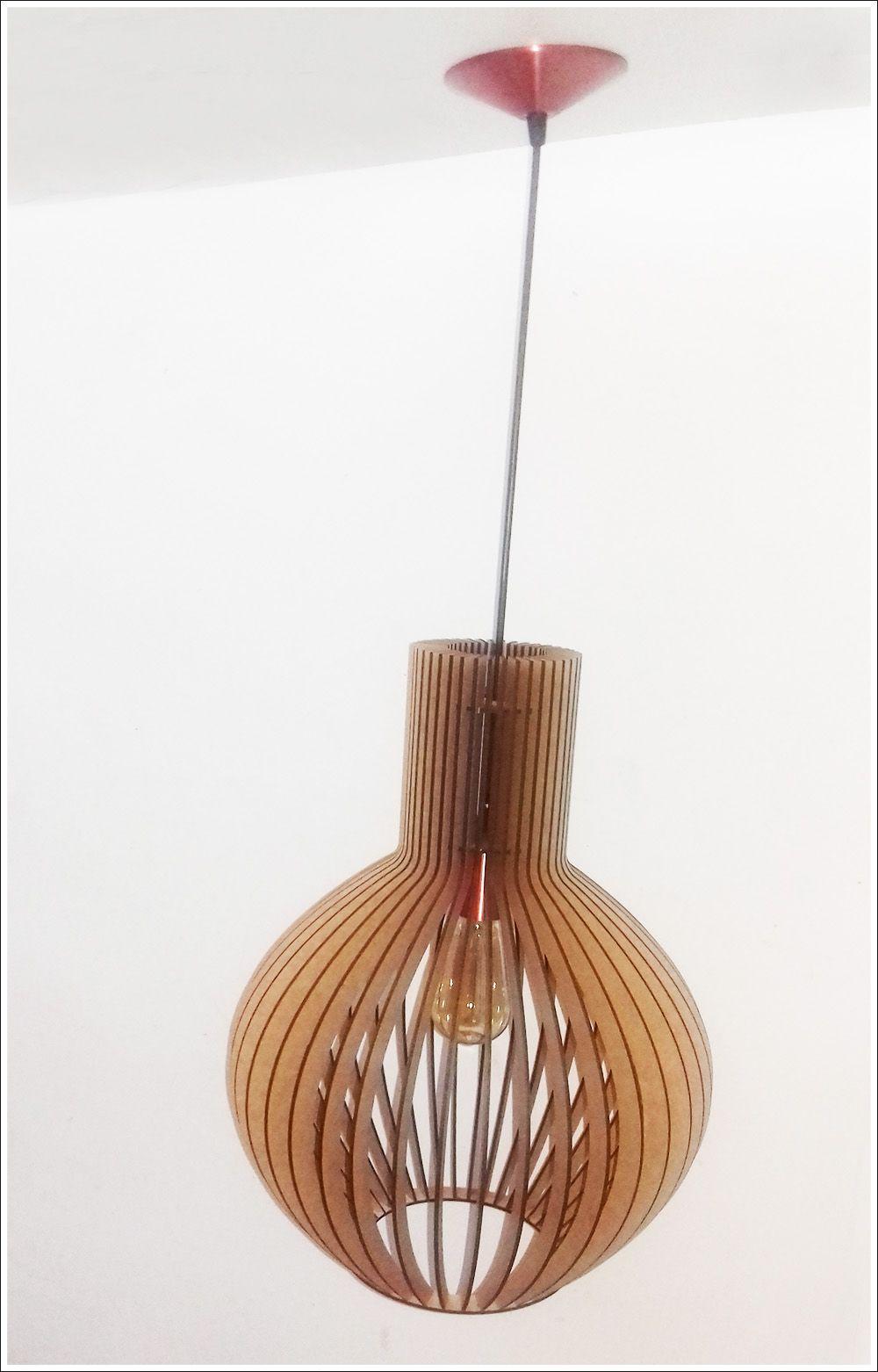 Luminária De Teto Madeira Mdf Crú Estilo Octo Retro Vintage