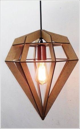 Luminária Pendente Em Mdf Crú Estilo Diamante Retro Vintage