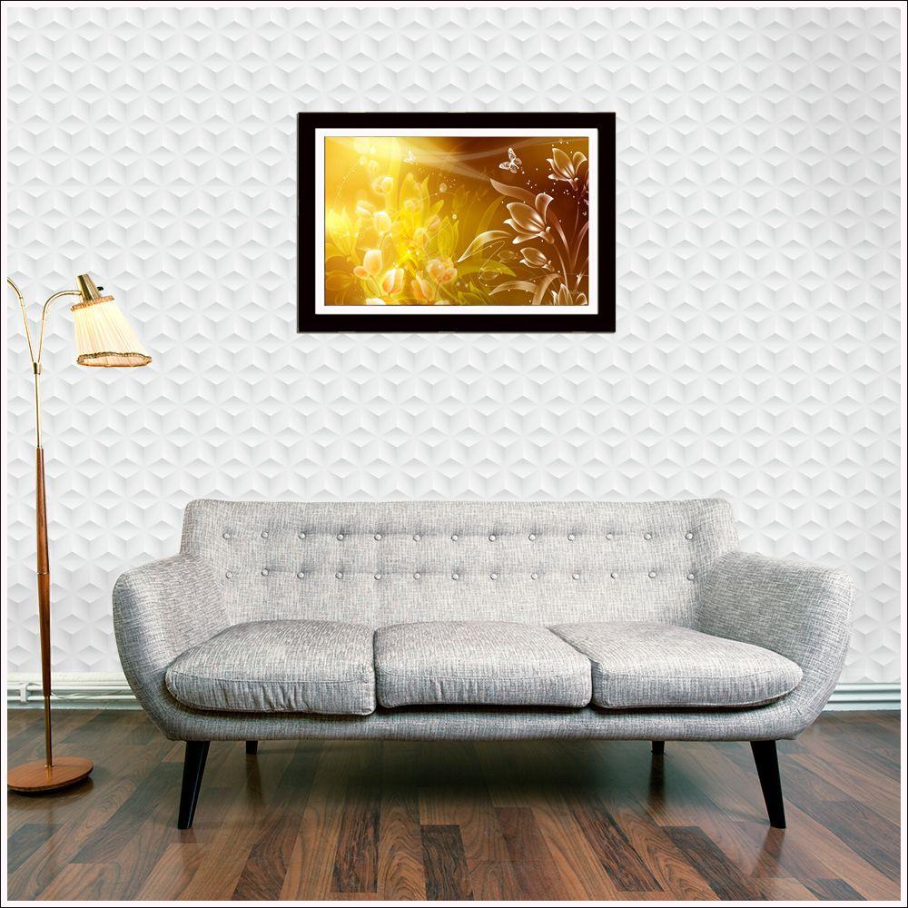 Quadro Decorativo Moldurado Com Poster Tema Abstrato 56 x 44 cm