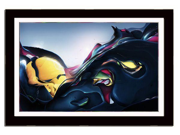 Quadro Moldurado Decorativo Com Poster Tema Abstrato 56 x 44 cm