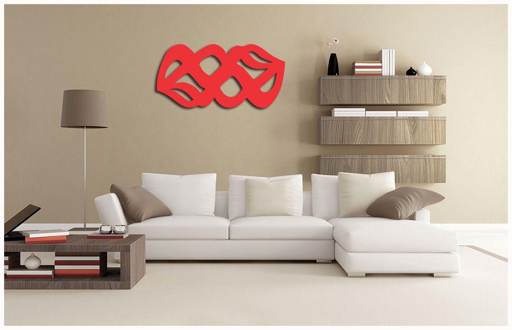 Quadros Abstratos Escultura Em MDF Laminado Vermelho 100 x 50 cm