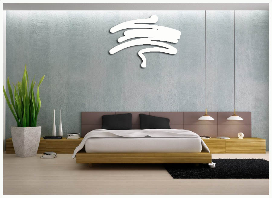 Escultura Decorativa de parede Pincelada Abstrata Branca