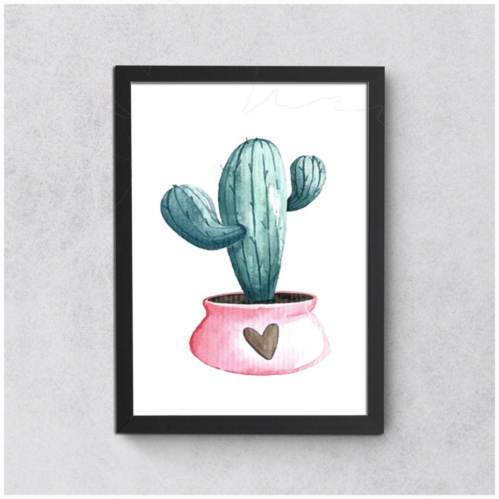 Quadros Decorativos Preto Com Poster Tema Cactus 36 x 27 cm