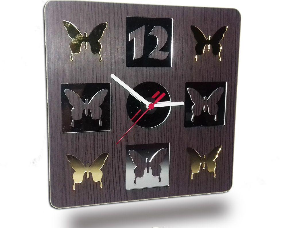 Relógio de Parede em Madeira Mdf Laminado Borboletas em Espelhos