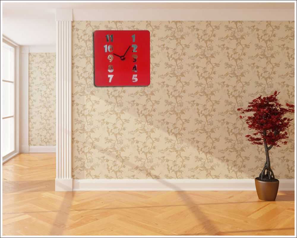 Relógio de Parede em Madeira Mdf Laminado Vermelho com Números Espelhados