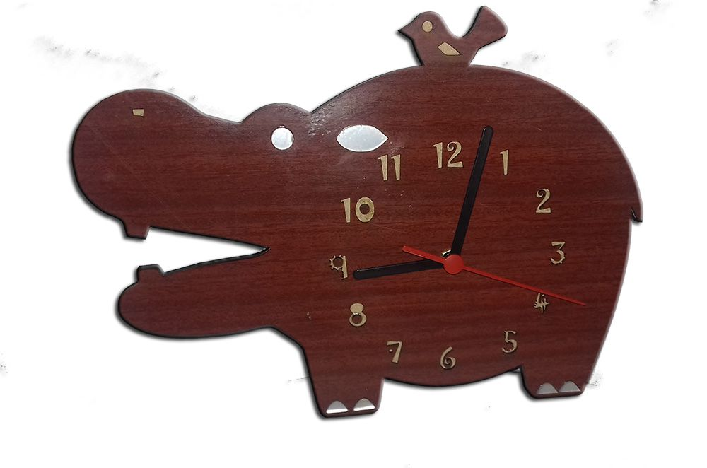 Relógio de Parede Hipopótamo em Madeira Mdf Laminado com Detalhes em Espelhos