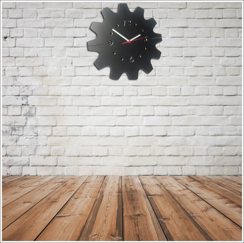 Relógio de Parede Mecanismo em Madeira Mdf Laminado e Detalhes em Espelhos
