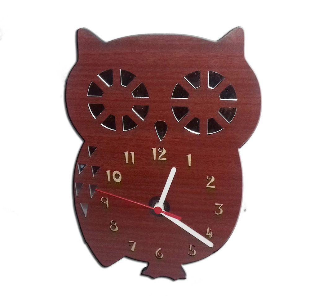 Relógio de Parede Infantil em Madeira Mdf Laminado com Detalhes em Espelhos