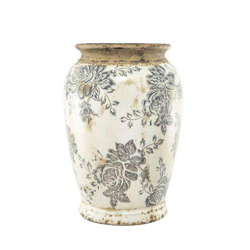 Vaso Decorativo em Cerâmica Florido 21,5 cm x 15 cm Mart Collection Branco