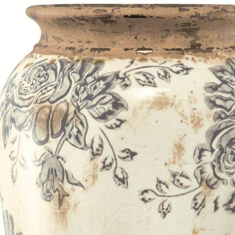 Vaso Decorativo em Cerâmica Han Florido 28,5 cm x 16,5 cm Mart Collection Branco