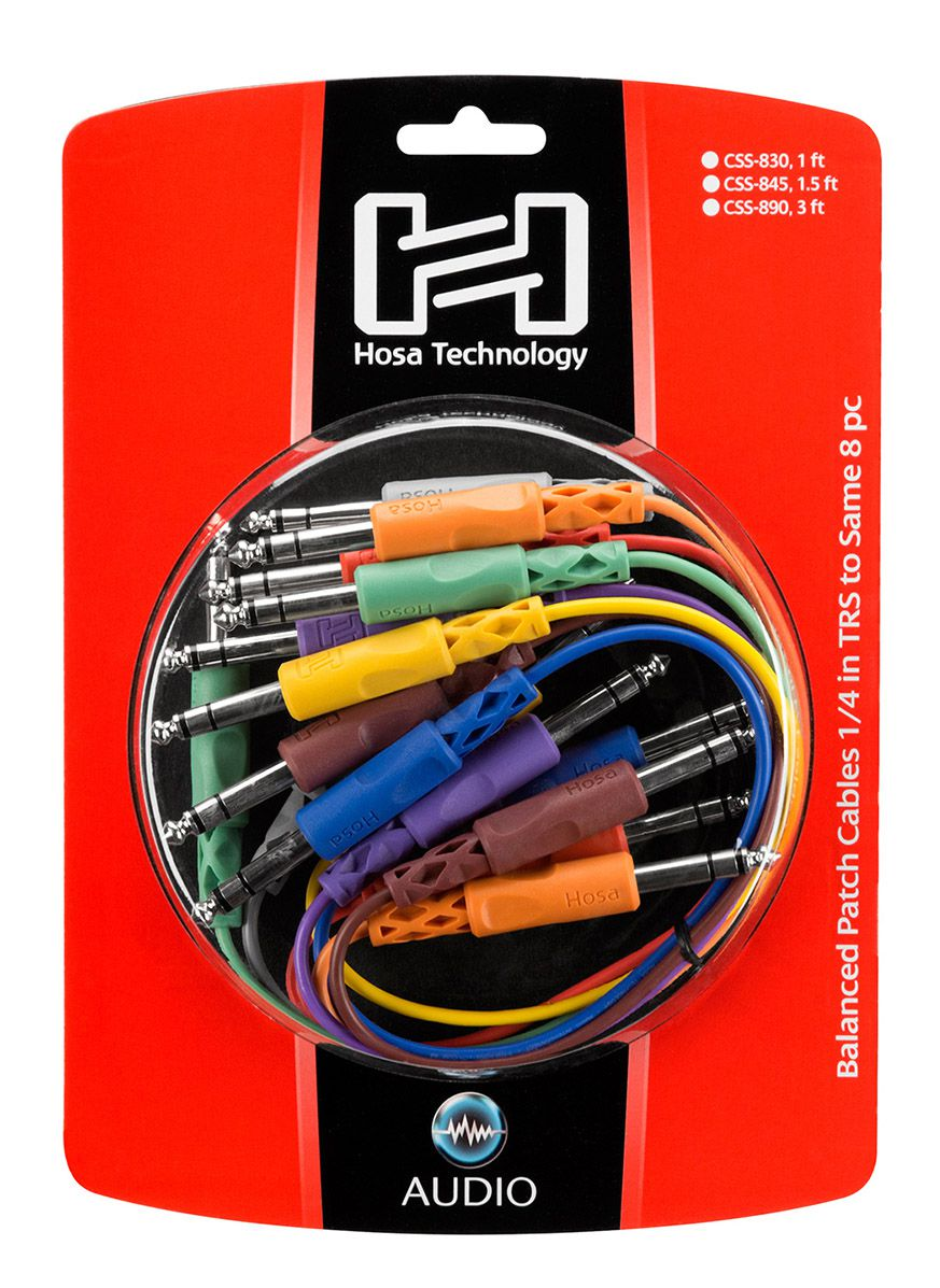 CABO PATCH P10 ESTÉREO (TRS) DUAL 90CM KIT 8 UNIDADES HOSA TECHNOLOGY CSS-890