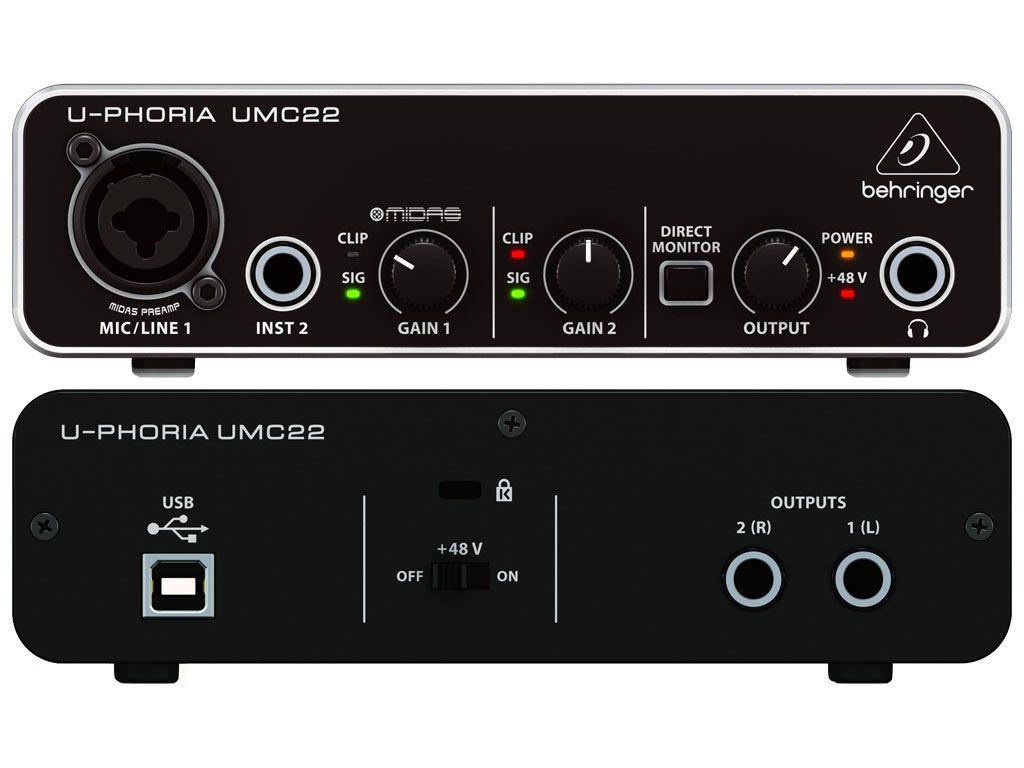 INTERFACE DE ÁUDIO USB BEHRINGER U-PHORIA UMC22