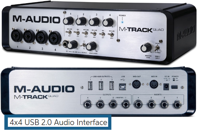 INTERFACE DE ÁUDIO USB M-AUDIO M-TRACK QUAD V2