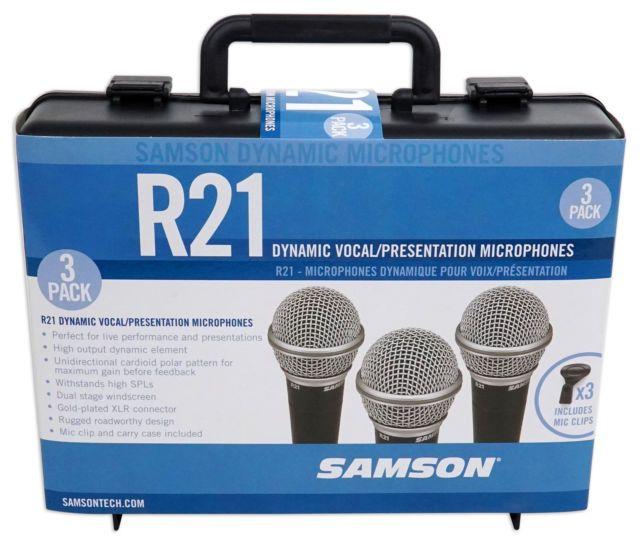 MICROFONE DINÂMICO SAMSON R21 3-PACK