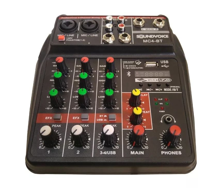 MÍXER ANALÓGICO SOUNDVOICE MC-4BT