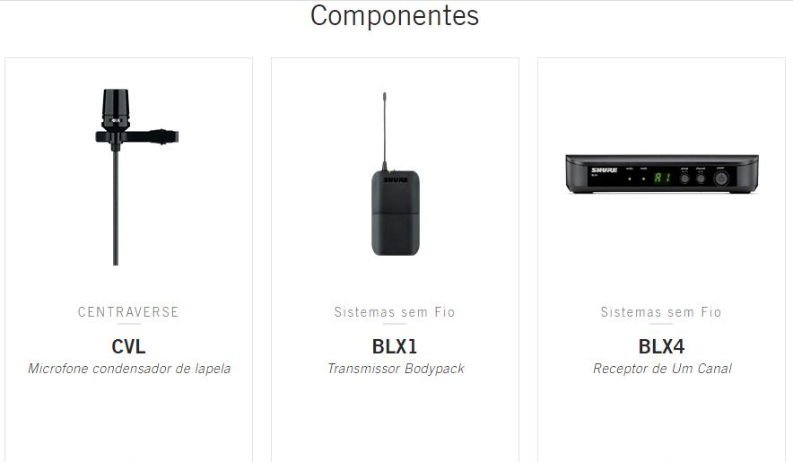 MICROFONE S/FIO LAPELA SHURE BLX14/CVL