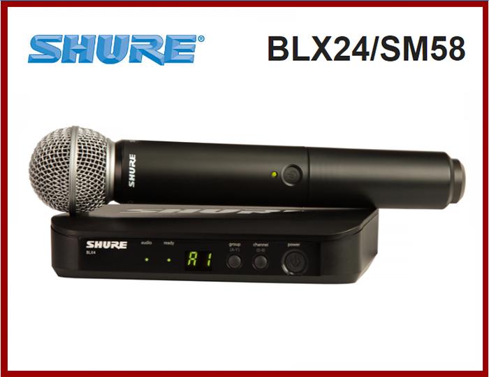 MICROFONE S/FIO HANDHELD SHURE BLX24/SM58