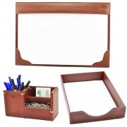 Kit Organizador para Escritório em Couro CE3015 Galvani