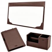 Kit para mesa escritório Aquila em Couro - Galvani
