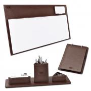 Kit para mesa escritório Latina em Couro - Galvani