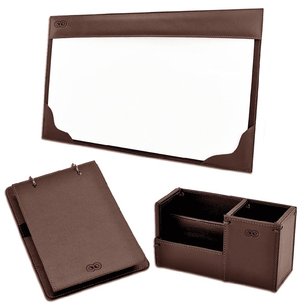 Kit para mesa Escritório Aquila em Couro Legítimo CE3003 Galvani