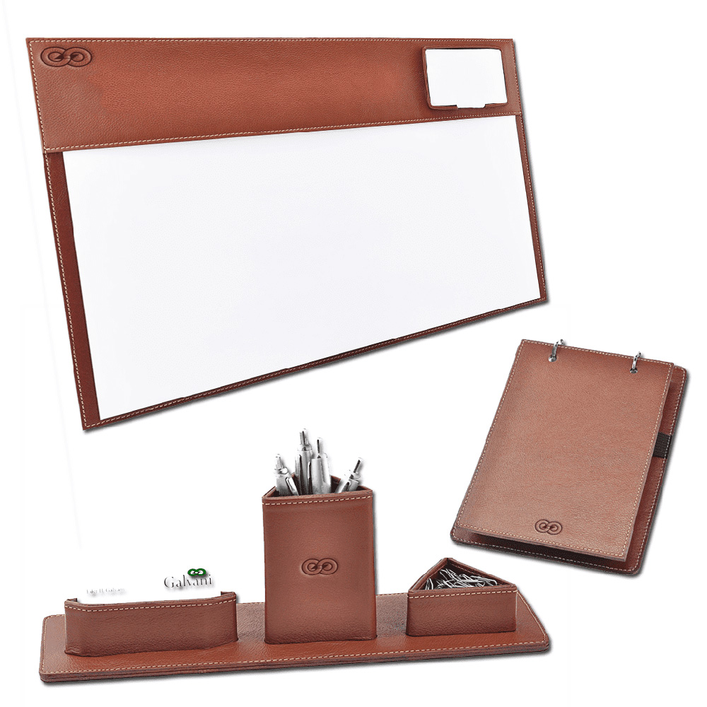 Kit para mesa Escritório Latina em Couro Legítimo CE3004 Galvani