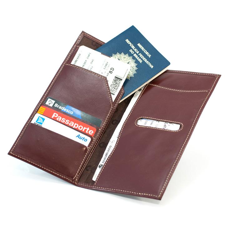 Porta Travel / Voucher Tour em Couro legítimo