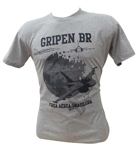 Camiseta Caça Gripen Cinza