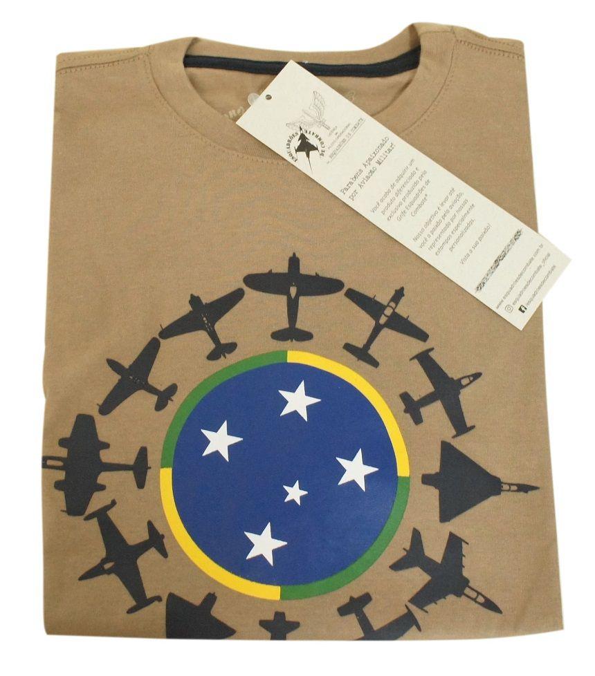 Camiseta Caças da FAB Caqui