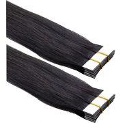 Mega Hair de Fita Adesiva Nano - Micro Pele Preto Natural 80g Cabelo Humano Liso