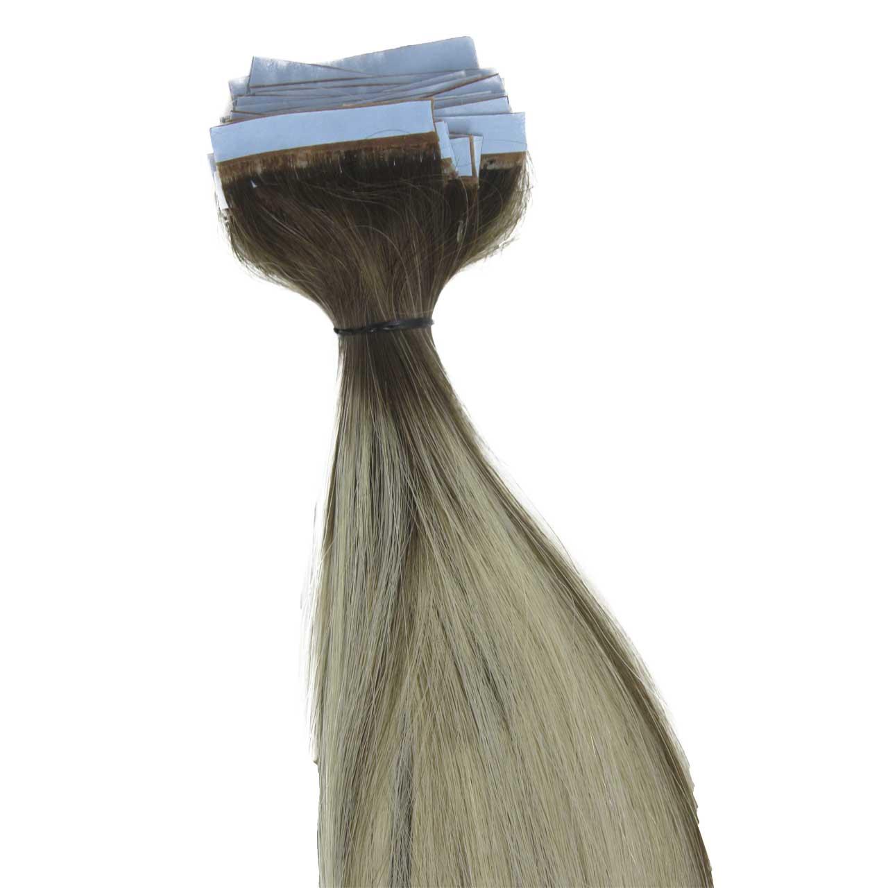 Mega Hair de Fita Adesiva Platinado Ombré Hair com Mechas Loiro Escuro 100 g