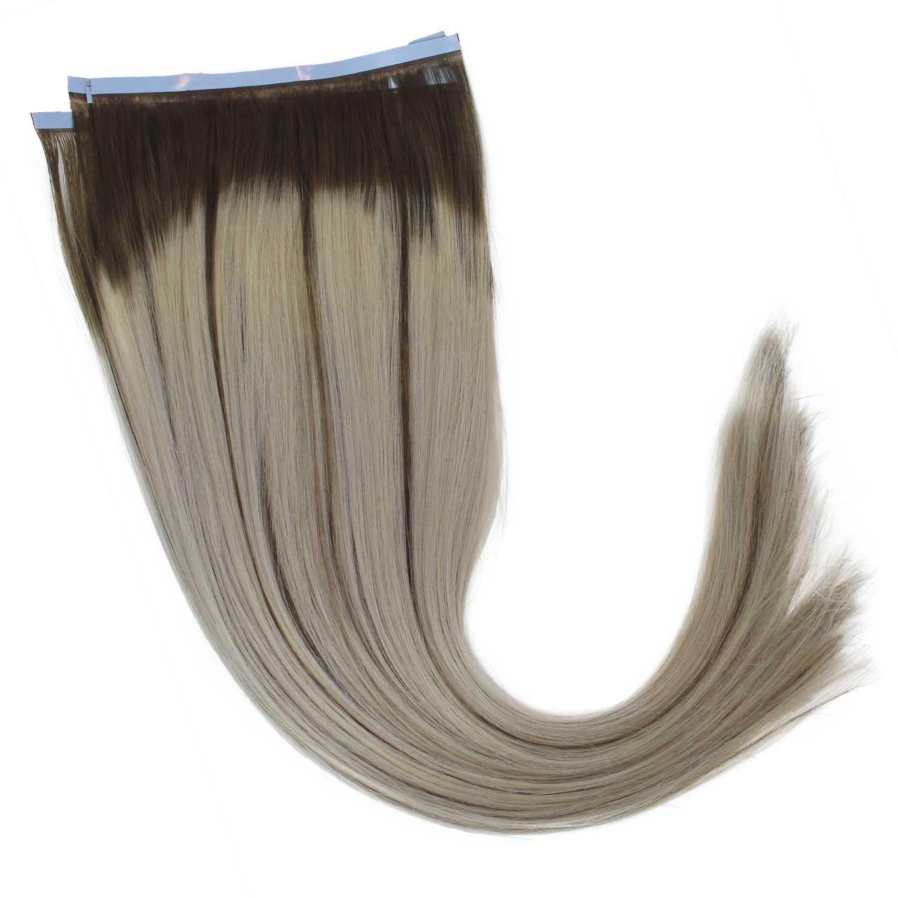 Mega Hair de Fita Adesiva Platinado Ombré Hair com Mechas Loiro Escuro 120 g