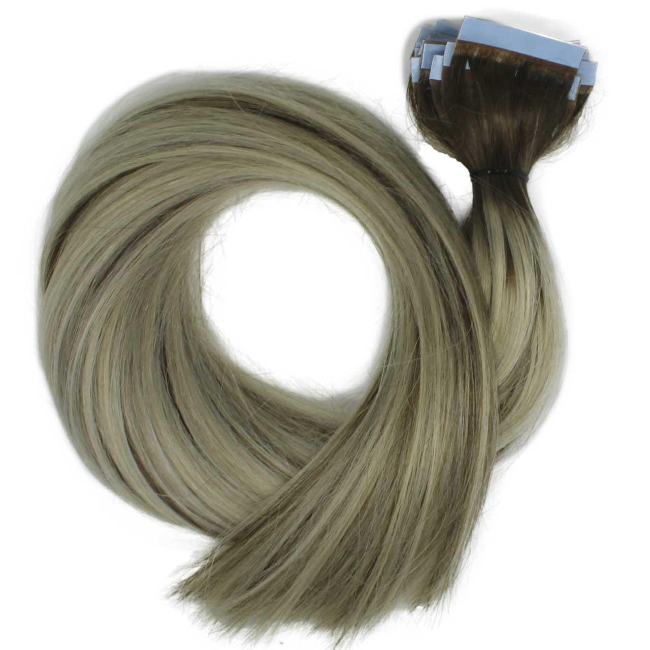 Mega Hair Fita Adesiva Platinado Ombré Hair com Mechas Loiro Escuro 200 g