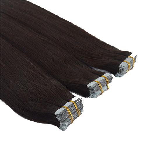 Mega Hair de Fita Adesiva Nano - Micro Pele Castanho Escuro 160g Cabelo Humano Liso