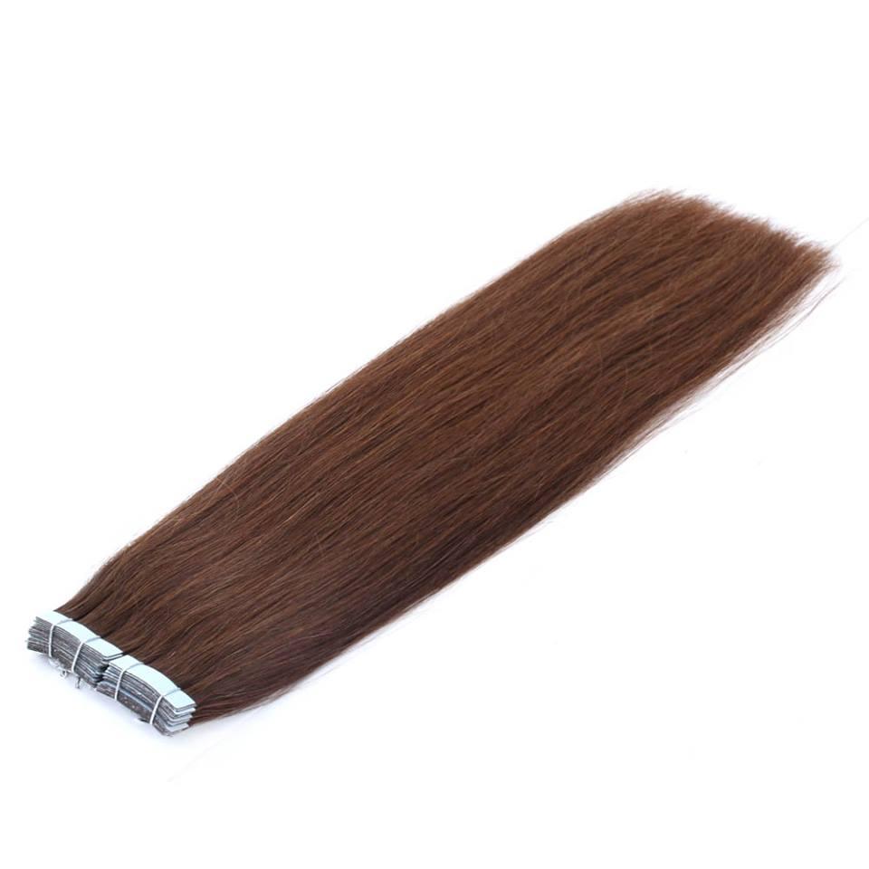 Mega Hair de Fita Adesiva Nano - Micro Pele Castanho Médio 120g Cabelo Humano Liso