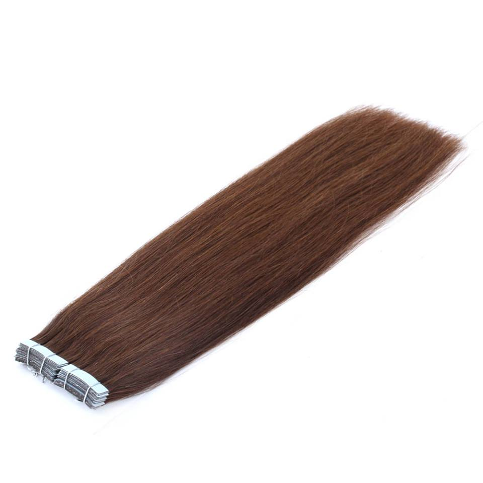 Mega Hair de Fita Adesiva Nano - Micro Pele Castanho Médio 80g Cabelo Humano Liso