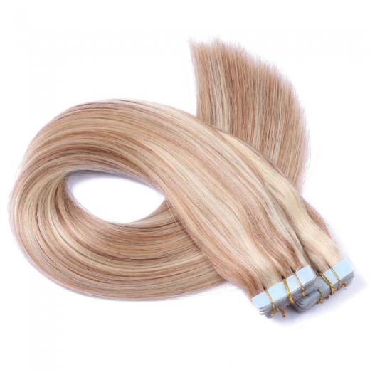 Mega Hair de Fita Adesiva Nano - Micro Pele Loiro Mechas Loiro Escuro 80g Liso