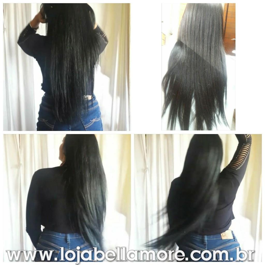 Mega Hair de Fita Adesiva Preto Intenso 100g Cabelo Humano Liso