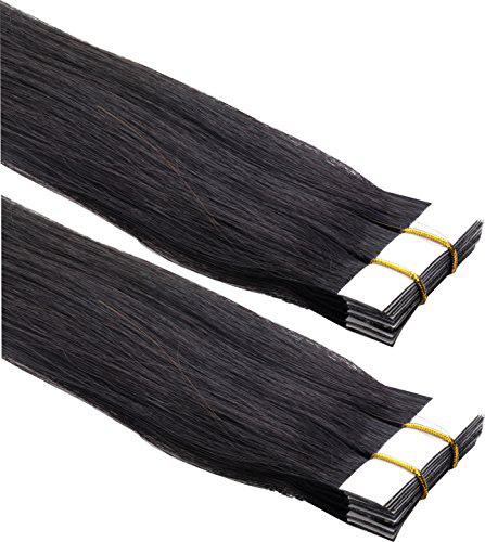 Mega Hair de Fita Adesiva Nano - Micro Pele Preto Natural 120g Cabelo Humano Liso