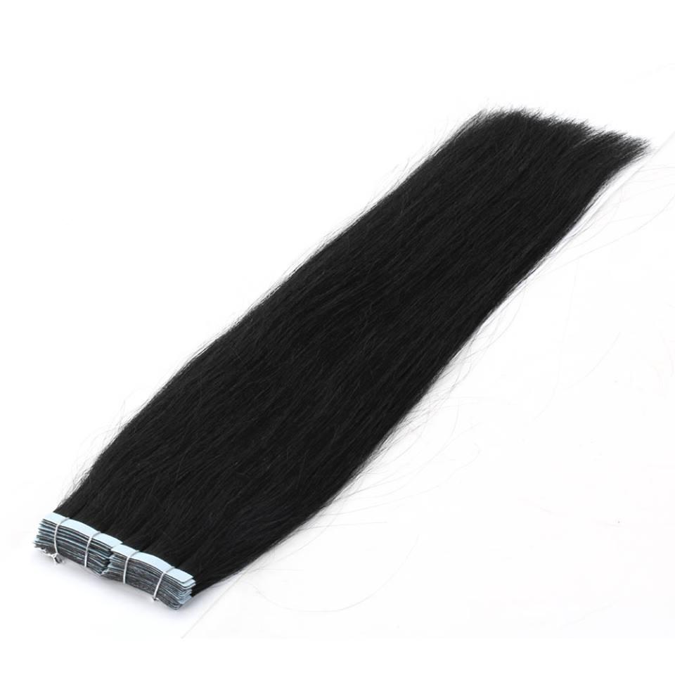 Mega Hair de Fita Adesiva Nano - Micro Pele Preto Intenso 80g Cabelo Humano Liso