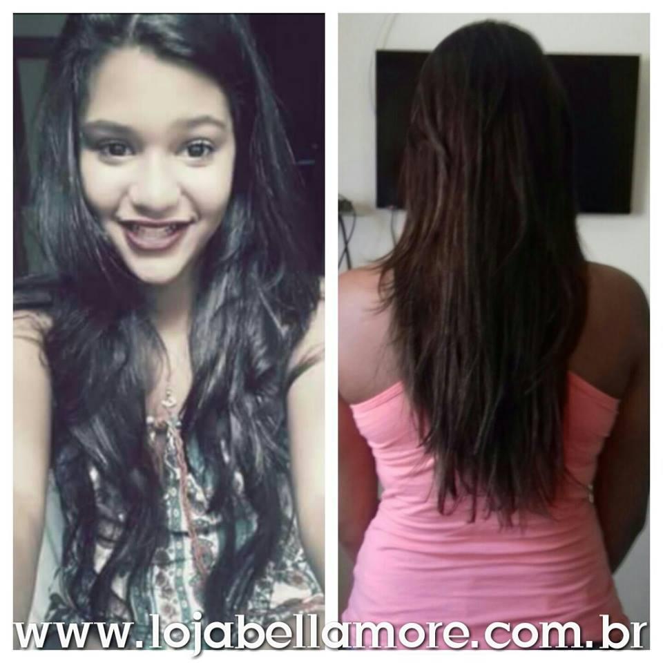 Mega Hair de Tela Castanho Escuro 120g Cabelos Humanos Naturais Liso