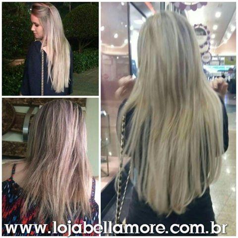 Mega Hair de Tela Loiro Platinado 160g Natural Cabelo Humano