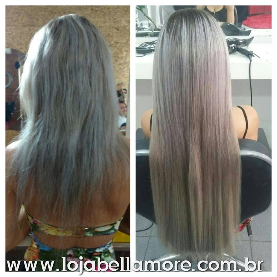 Mega Hair de Tela Loiro Platinado Acinzentado 120g Cabelo Humano