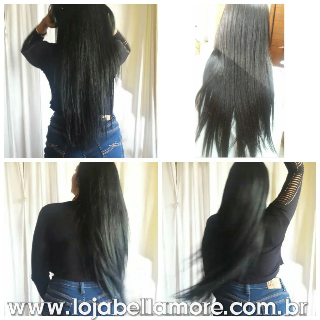 Mega Hair de Tela Preto Intenso 100g Cabelos Humanos Naturais Liso