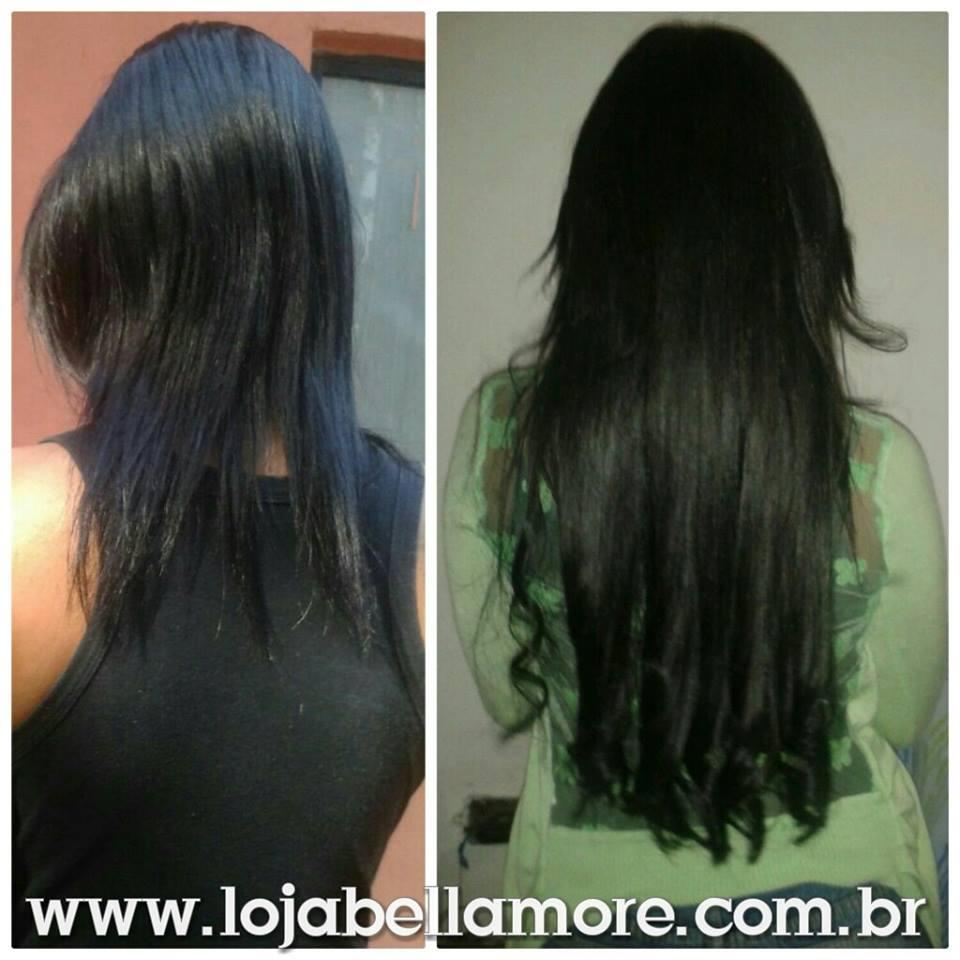 Mega Hair de Tela Preto Natural 160g Cabelos Humanos Naturais Liso
