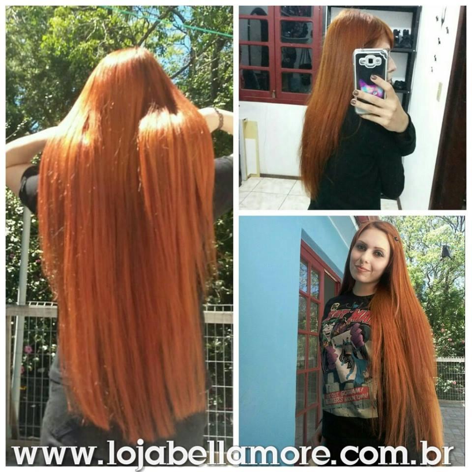 Mega Hair de Tela Ruivo 100g Cabelos Humanos Naturais Liso